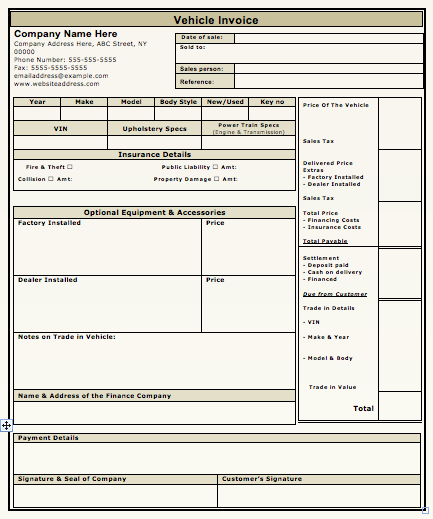 Car Sales Invoice Template Fresh Car Sales Invoice Template Free Download