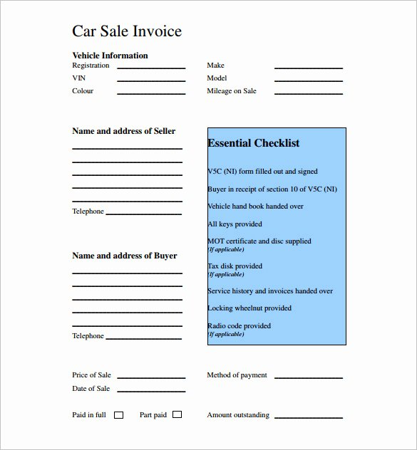 Car Sales Invoice Template Inspirational Used Car Sales Invoice Template Uk