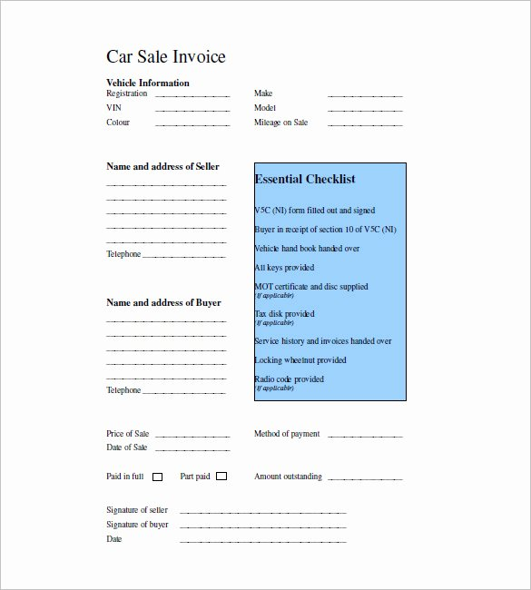 Car Sales Invoice Template Luxury 16 Sales Invoice Templates Free Word Excel Pdf