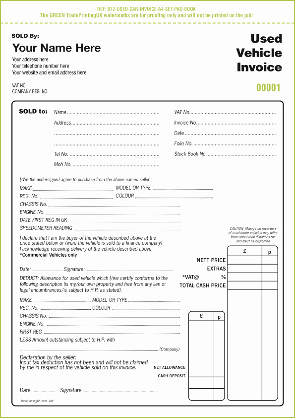 Car Sales Invoice Template New Used Car Sales Invoice Template Uk