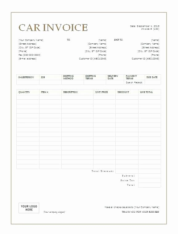 Car Sales Invoice Template Unique Used Car Receipt Template – Picks
