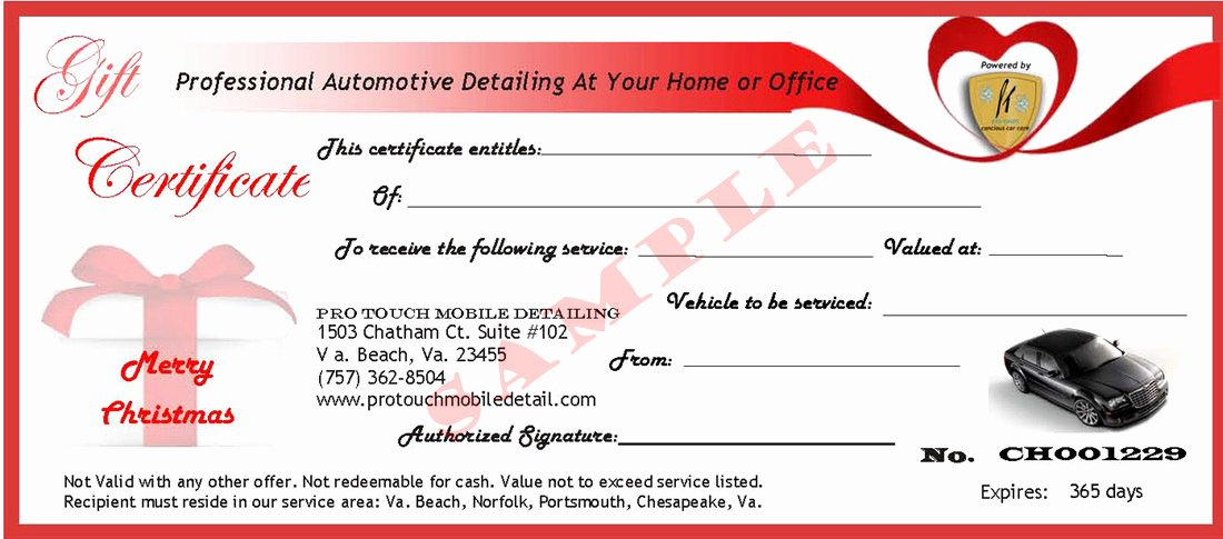 Car Wash Gift Certificate Template Beautiful Pro touch Mobile Detailing Gift Certificates Pro touch