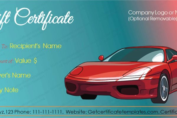 Car Wash Gift Certificate Template Best Of Automotive Gift Certificate Template Free Reeviewer