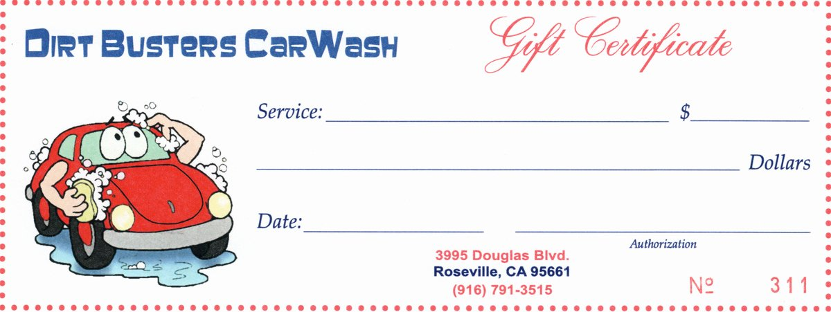 Car Wash Gift Certificate Template Inspirational Gift Certificates – Dirt Busters – Granite Bay