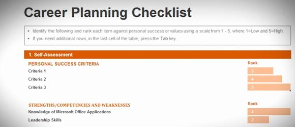 Career Path Planning Template Beautiful Free Career Planning Checklist Template for Excel 2013