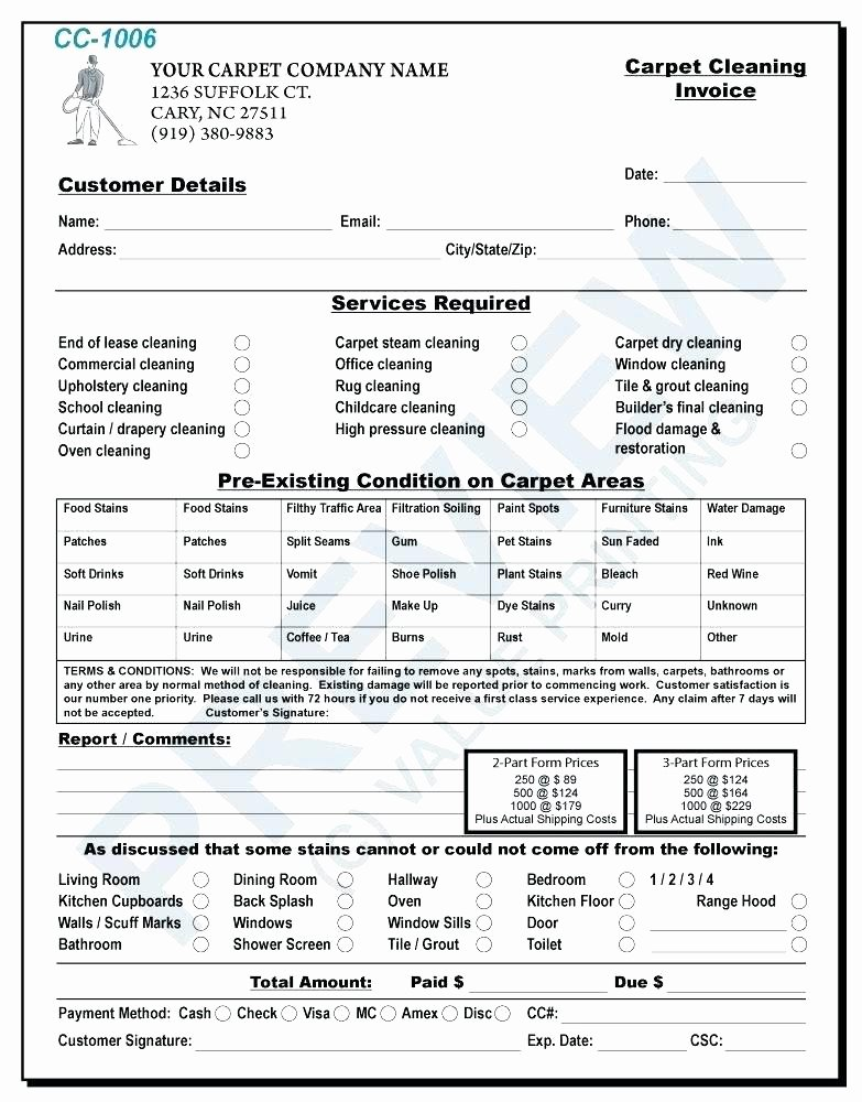 Carpet Cleaning Invoice Template Awesome Carpet Cleaning Business forms Cleaning Invoice Examples