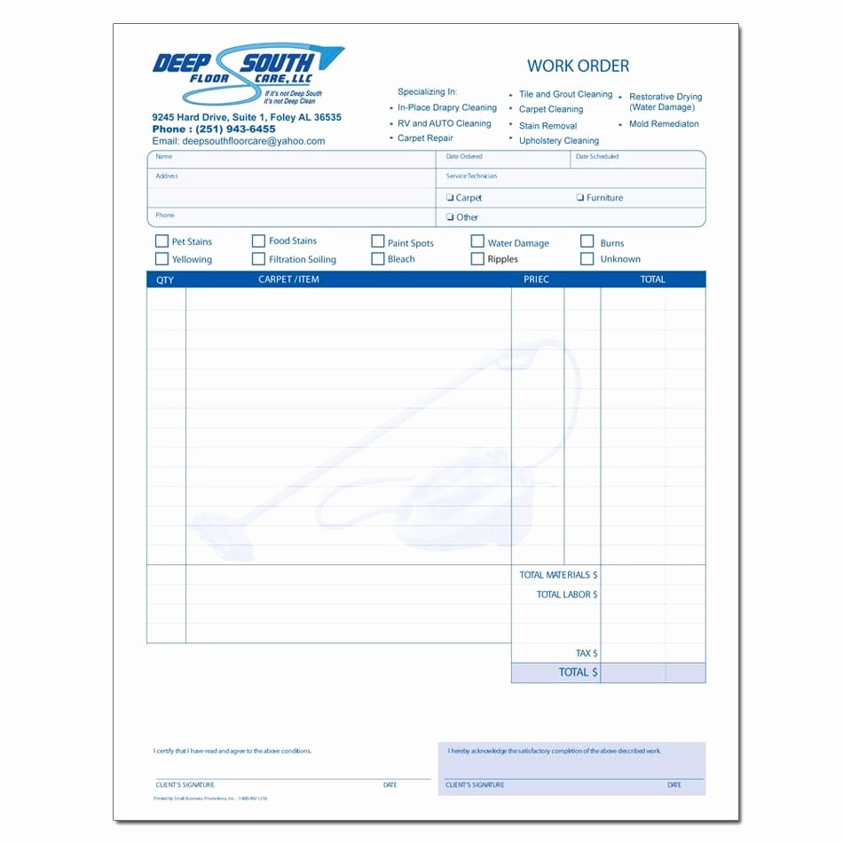 Carpet Cleaning Invoice Template Awesome Cleaning Service Invoice