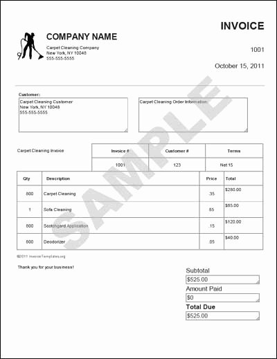 Carpet Cleaning Invoice Template Elegant Carpet Invoice Templates Free