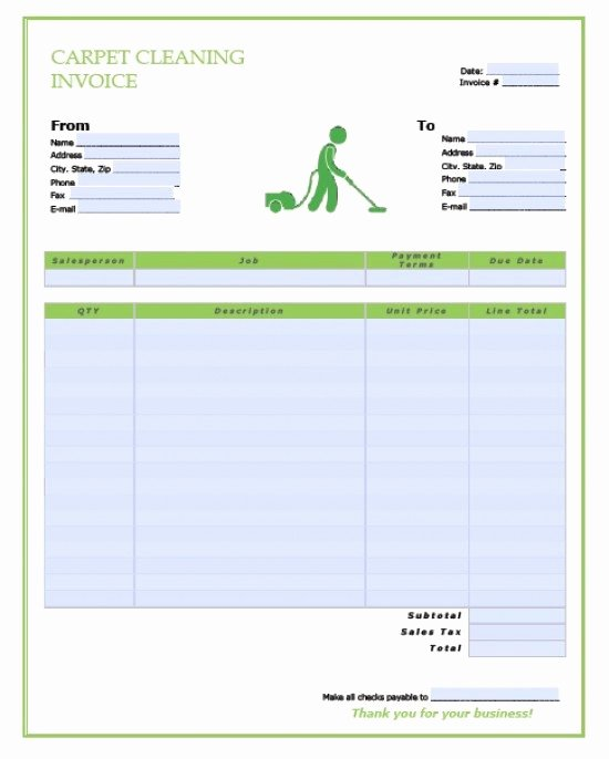 Carpet Cleaning Invoice Template Elegant Free Carpet Cleaning Service Invoice Template