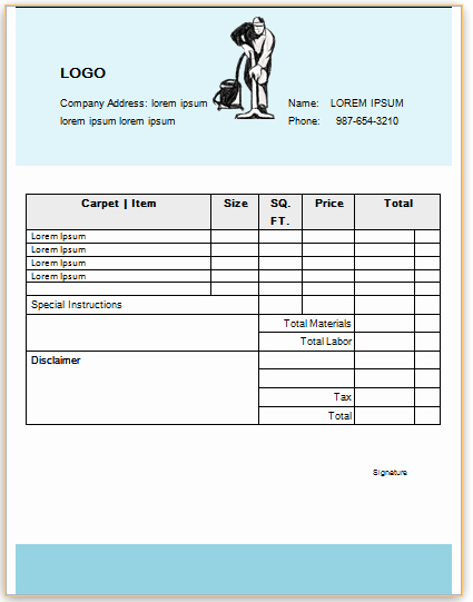 Carpet Cleaning Invoice Template Luxury Professional Carpet Cleaning Invoice Templates Impress