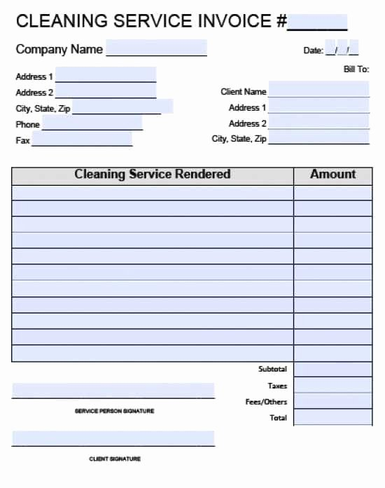 Carpet Cleaning Invoice Template Unique Cleaning Service Invoice forms Templates Resume