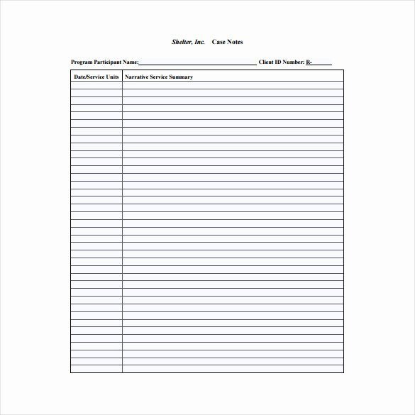 Case Management Notes Template Inspirational Case Notes Template – 7 Free Word Pdf Documents Download