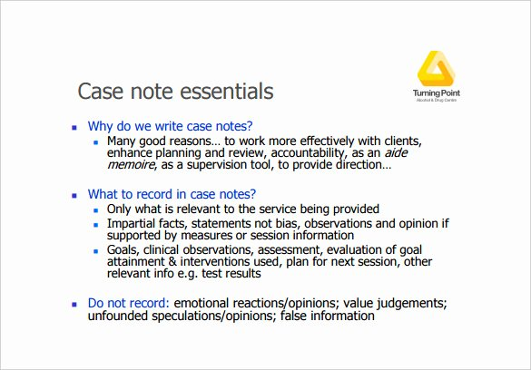 Case Note Template social Work Awesome Case Notes Template – 7 Free Word Pdf Documents Download