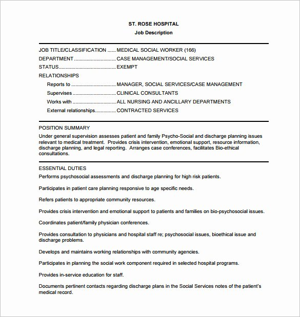 Case Note Template social Work Best Of 9 social Worker Job Description Templates – Free Sample