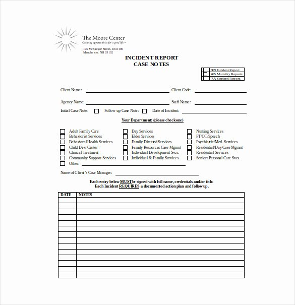 Case Note Template social Work Lovely Case Notes Template – 7 Free Word Pdf Documents Download