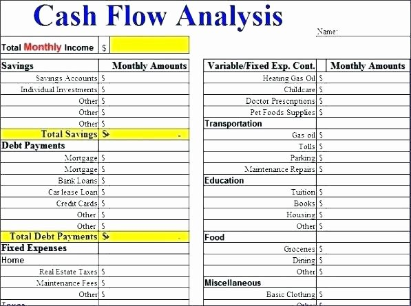 Cash Flow Analysis Template Fresh Cash Flow Analysis Spreadsheet Cash Flow Analysis Template