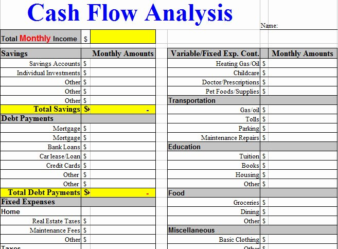 Cash Flow Analysis Template Fresh Cash Flow Analysis Worksheet Template