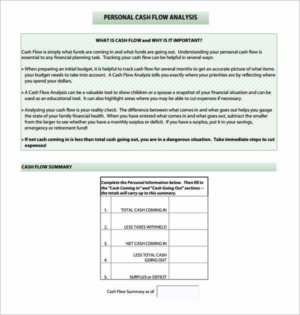 Cash Flow Analysis Template Inspirational Cash Flow Analysis Template 11 Download Free Documents