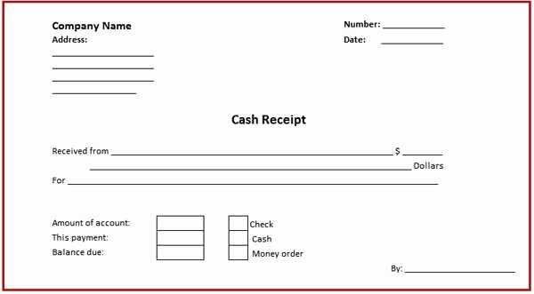 Cash Receipt Template Word Unique Cash Receipt Template