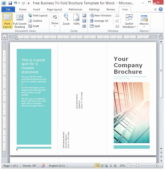 Catalogue Template for Word Unique Free Business Tri Fold Brochure Template for Word