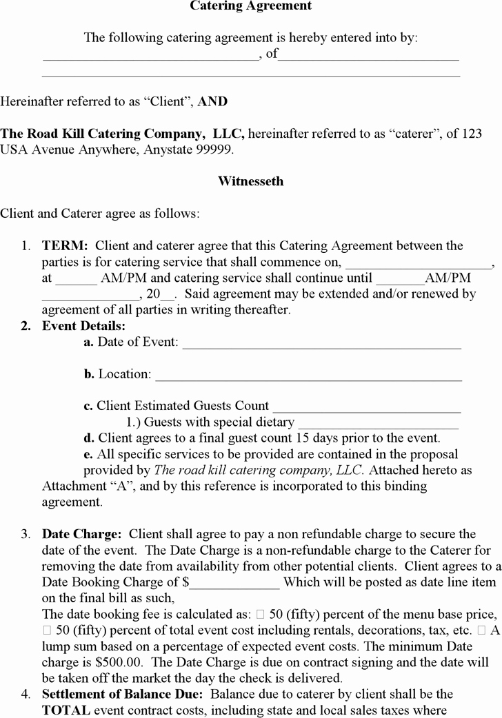 Catering Contract Template Free Awesome 5 Catering Contract Templates Word Excel Templates