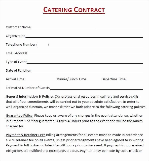 Catering Contract Template Free Awesome Catering Contract Sample Free Celowithjo Gallery From