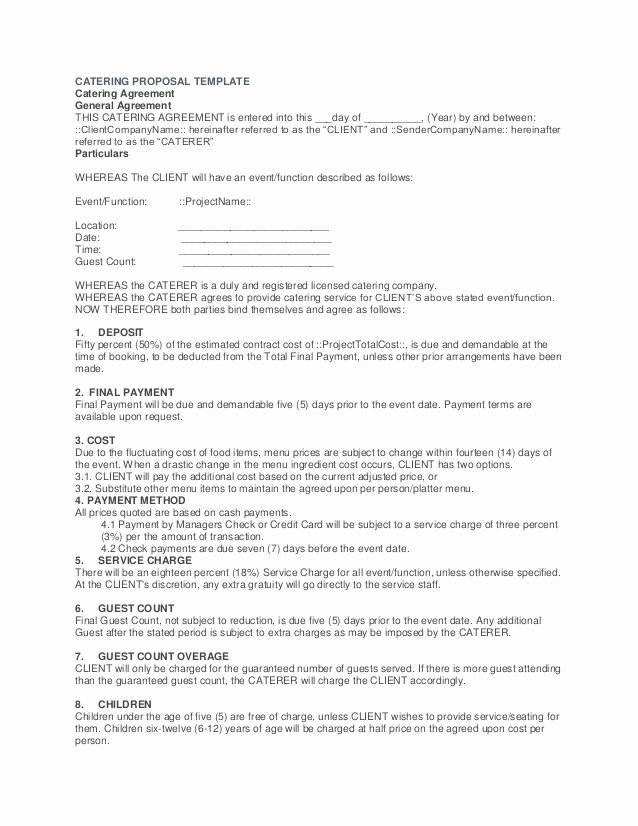 Catering Contract Template Free Awesome Catering Proposal Template Midterms