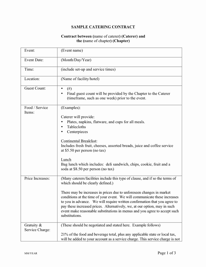 Catering Contract Template Free Beautiful Catering Contract Template Free Documents for