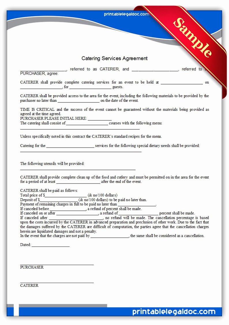 Catering Contract Template Free Beautiful Free Printable Catering Services Agreement form Generic