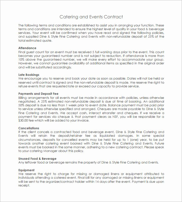 Catering Contract Template Free Elegant 11 Catering Contract Templates – Free Word Pdf