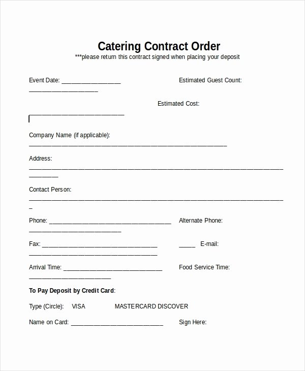 Catering Contract Template Free Fresh 28 Contract Templates Free Sample Example format