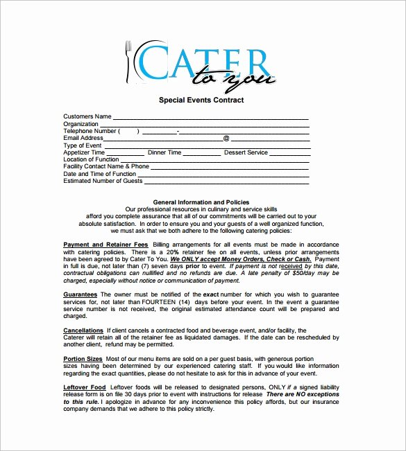 Catering Contract Template Free Inspirational 15 Sample Catering Contract Templates – Pdf Word Apple