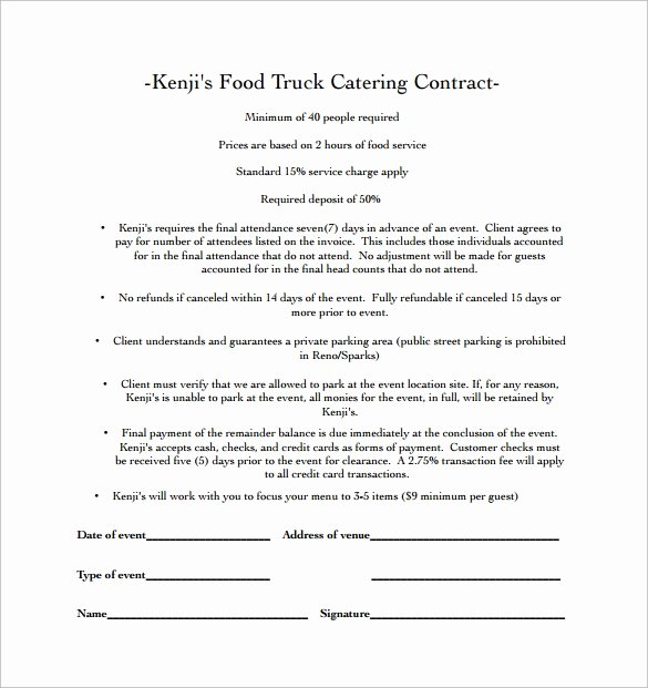 Catering Contract Template Free Inspirational Catering Contract Template 9 Download Free Documents In