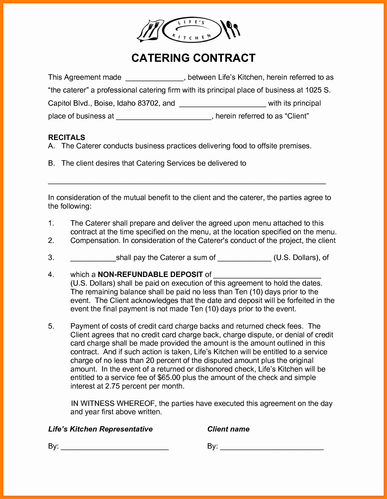 Catering Contract Template Free Lovely Contract S Catering Contract Template Catering