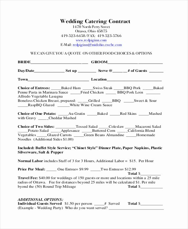 Catering Contract Template Free Lovely Sample Catering Contract form 8 Free Documents In Doc Pdf