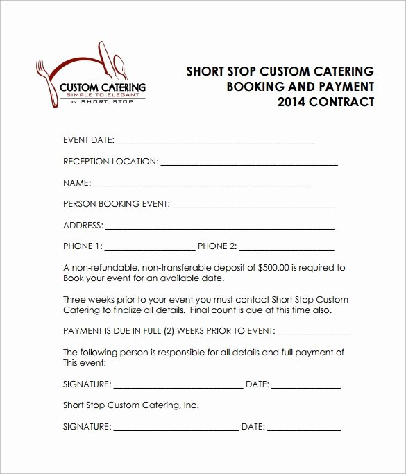 Catering Contract Template Free Luxury 15 Sample Catering Contract Templates – Pdf Word Apple