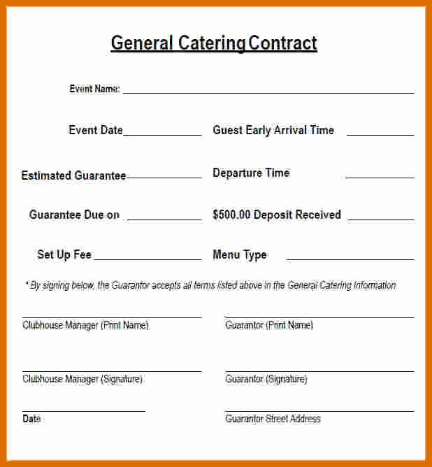 Catering Contract Template Free Luxury 5 6 Catering Contract Sample
