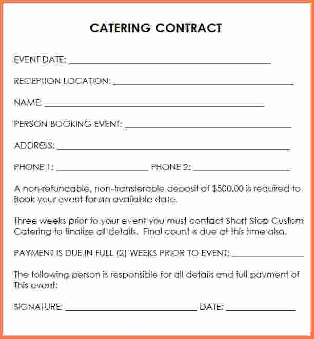 Catering Contract Template Free Luxury Wedding Catering Contract Sample Catering Contract