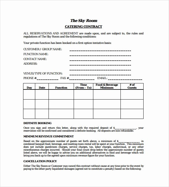 Catering Contract Template Free New 15 Sample Catering Contract Templates – Pdf Word Apple