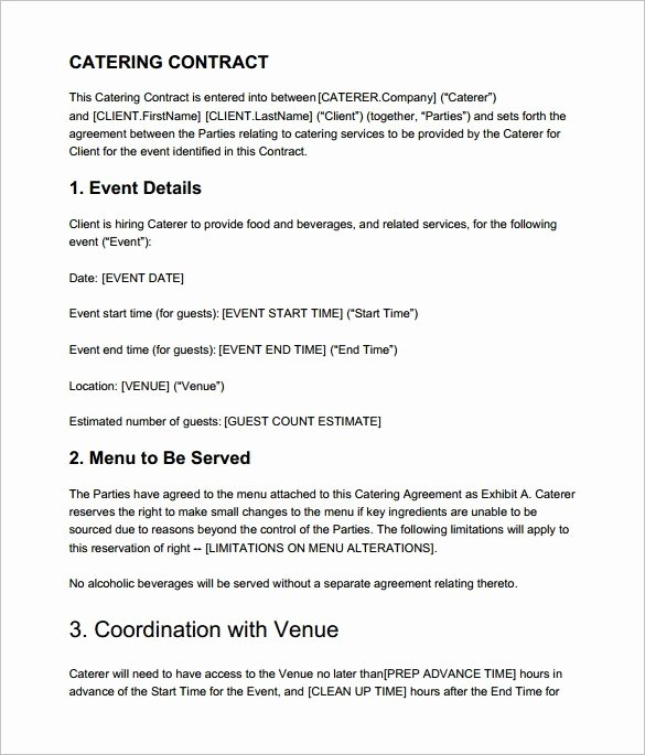 Catering Contract Template Free Unique Catering Contract Templates Word Excel Samples
