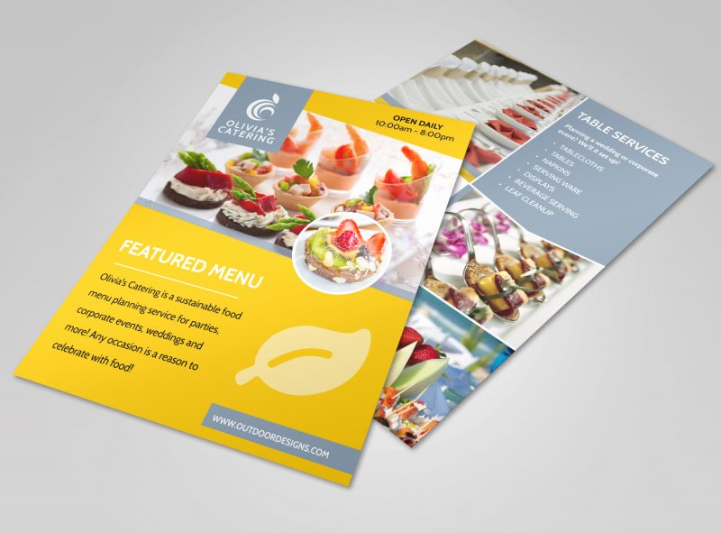 Catering Flyer Template Free Inspirational Catering Menu Flyer Template