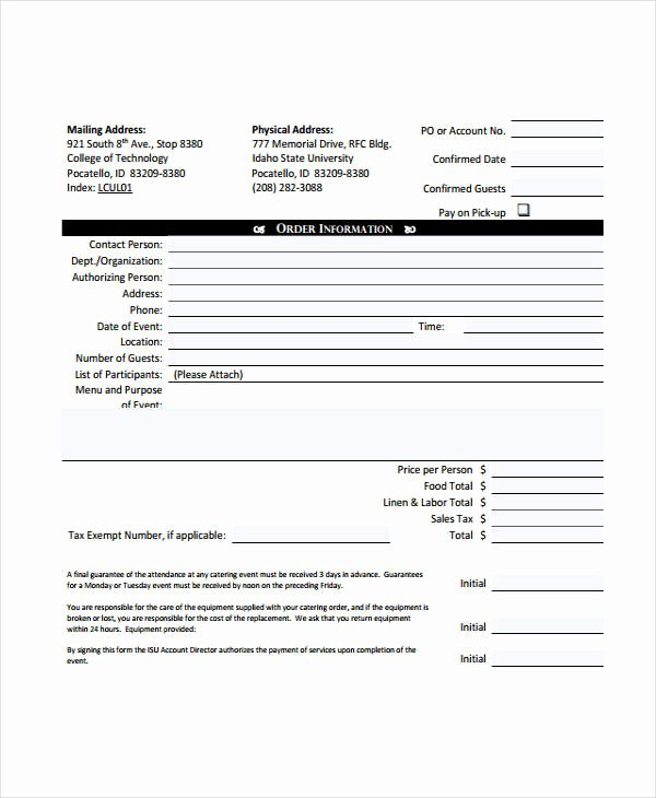 Catering Invoice Template Pdf Awesome 6 Catering Invoice Example & Samples