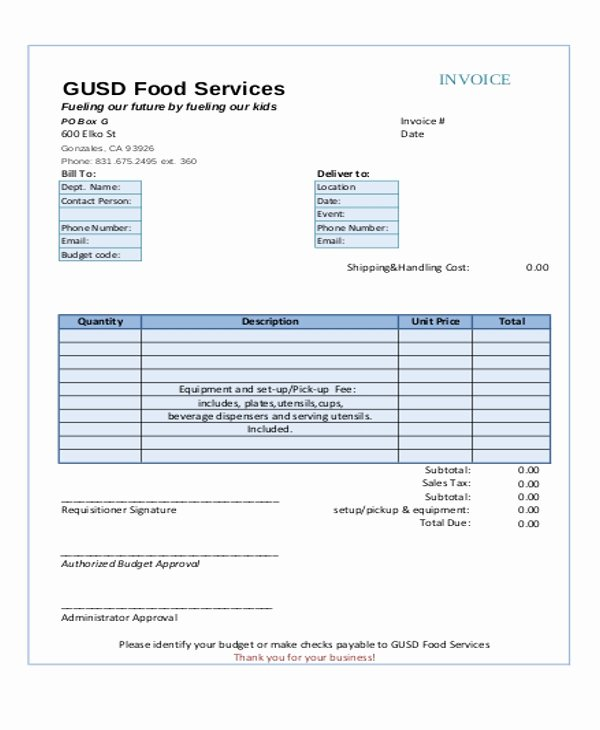 Catering Invoice Template Pdf Beautiful 6 Catering Receipt Templates Free Sample Example