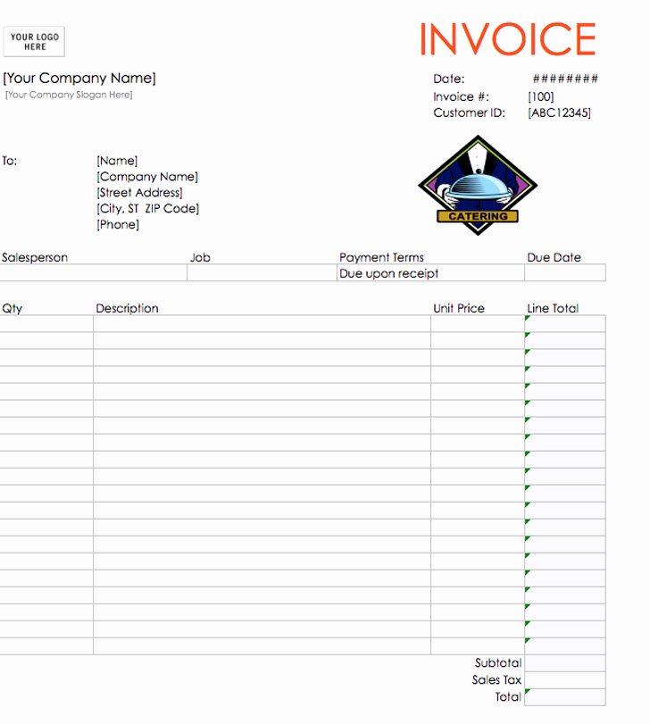Catering Invoice Template Pdf Beautiful Catering Invoice Template Invitation Template