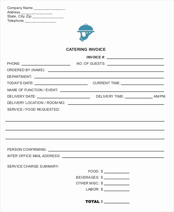 Catering Invoice Template Pdf Beautiful Catering Invoice Templates 8 Free Word Pdf format