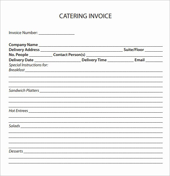 Catering Invoice Template Pdf Best Of Catering Invoice Sample 17 Documents In Pdf Word