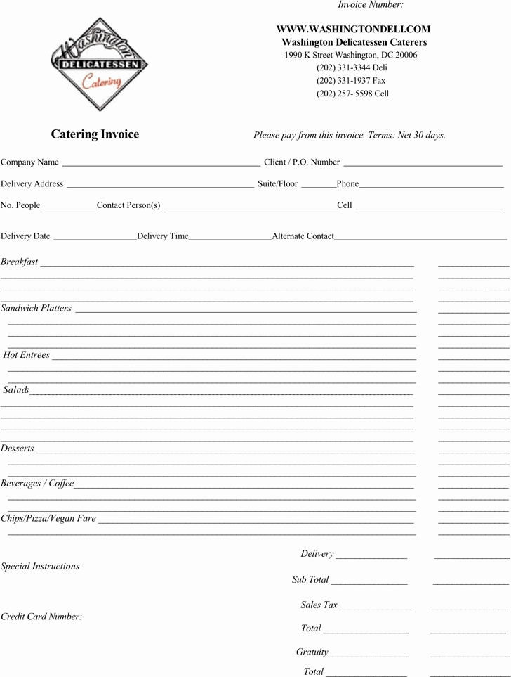 Catering Invoice Template Pdf Fresh Free Catering Invoice Template Pdf 80kb