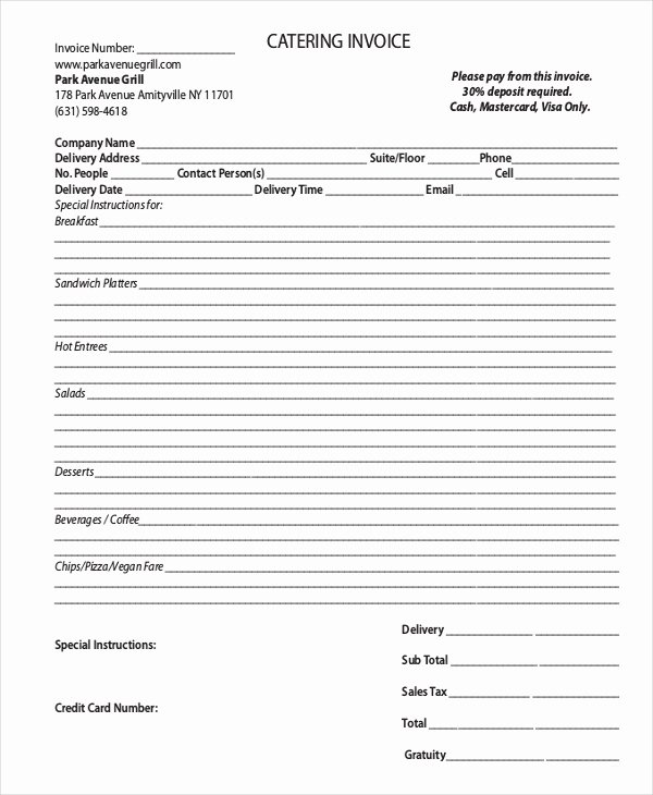 Catering Invoice Template Pdf Lovely Invoice Template 10 Free Word Pdf Document Downloads