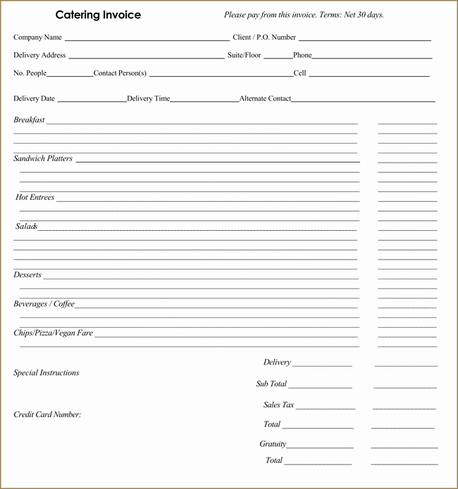 Catering Invoice Template Pdf Luxury Catering Invoice Templates 10 Different formats In Pdf