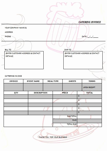 Catering Invoice Template Pdf Unique 30 Best Images About Catering Invoice Templates On